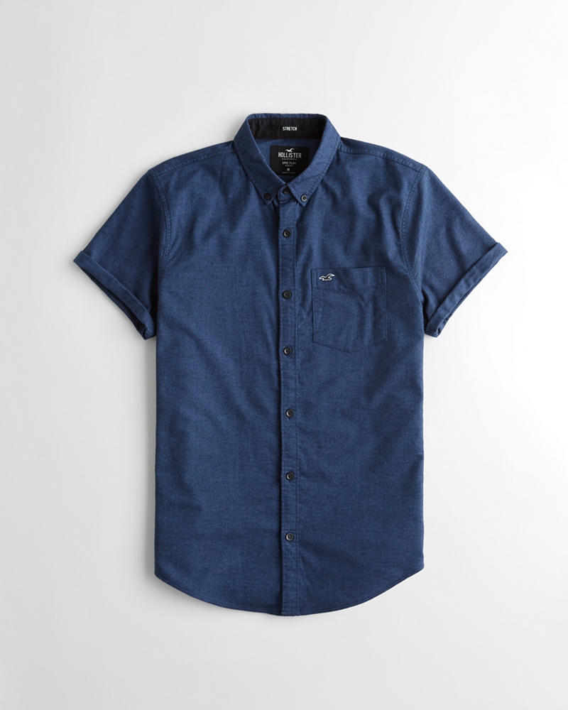 f74886dd Guys · Tops · Shirts · Solid Shirts. Short-Sleeve Stretch Oxford ...