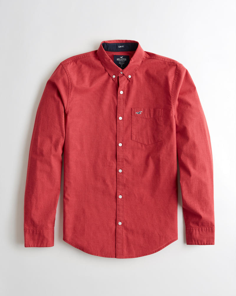 7c44075abf62 Guys Stretch Poplin Slim Fit Shirt | Guys Clearance | HollisterCo.com
