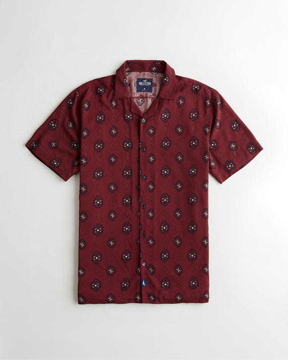 Short Sleeve Patterned Shirt by Hollister
