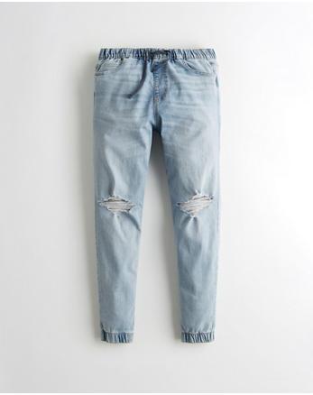 b4cf322207 Pantalón tipo jogging ajustado de denim con elasticidad avanzada