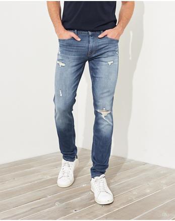 Advanced Stretch Skinny Jeans, RIPPED BRIGHT MEDIUM WASH