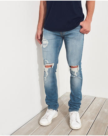 Advanced Stretch Stacked Skinny Jeans Ripped Light Medium Wash