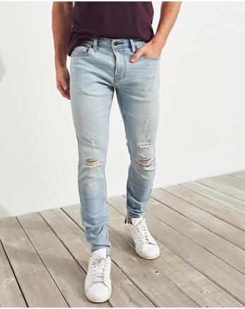 Advanced Stretch Super Skinny Jeans Ripped Light Wash