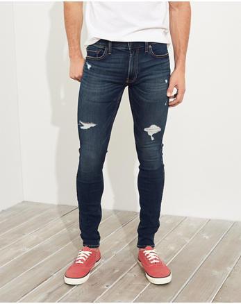 Hollister Extreme Stretch Extreme Skinny Jeans, DESTROYED DARK WASH