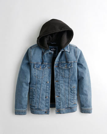 Sherpa-Lined Hooded Denim Jacket at Hollister in Orlando 61faa7417