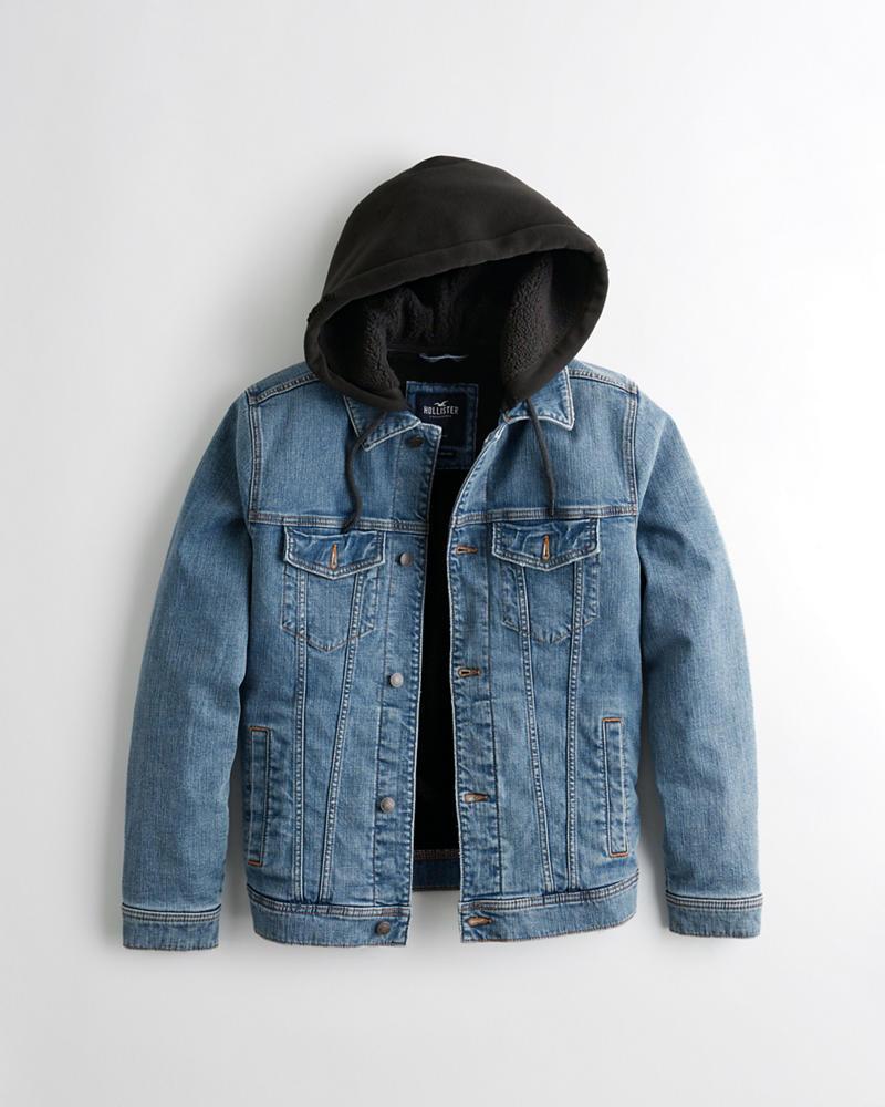 25e7567865 Guys Sherpa-Lined Hooded Denim Jacket