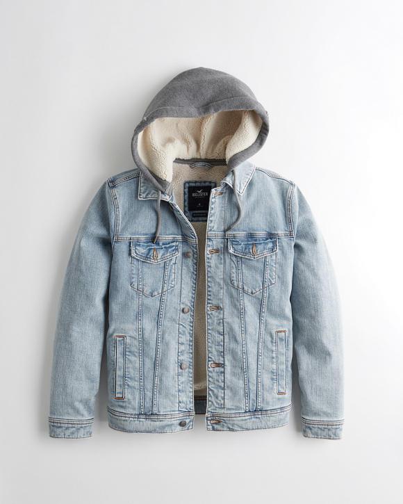 Guys Sherpa Lined Hooded Denim Jacket Guys Sale Hollisterco Com