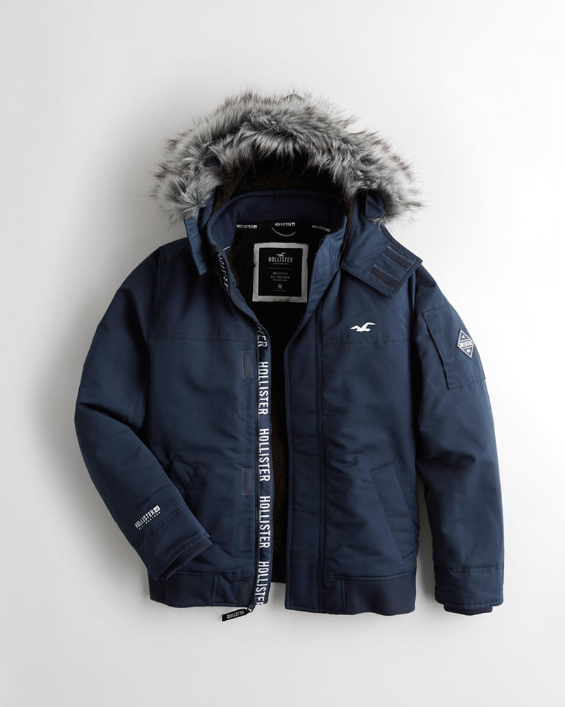 2522e019eb0 Guys · Jackets   Coats · The Hollister All-Weather. Sherpa-Lined Hooded  Bomber Jacket