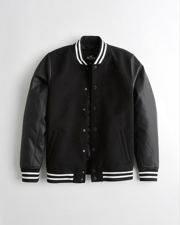 Faux Leather Varsity Bomber Jacket | Abercrombie com