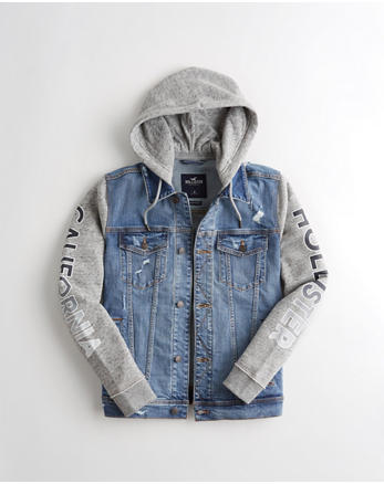Veste en jean à capuche avec logo, DELAVAGE MOYEN DECHIRE 035825c37642