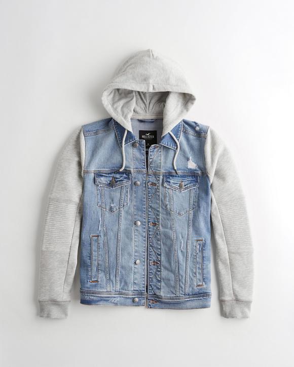 Moto Hooded Denim Jacket by Hollister