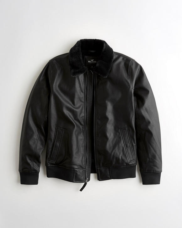 Faux Leather Aviator Jacket by Hollister
