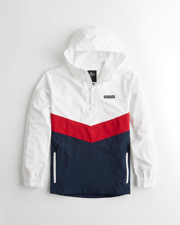 Hooded Half Zip Windbreaker by Hollister