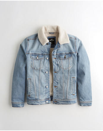 396d89ff Sherpa-Lined Denim Jacket, LIGHT WASH