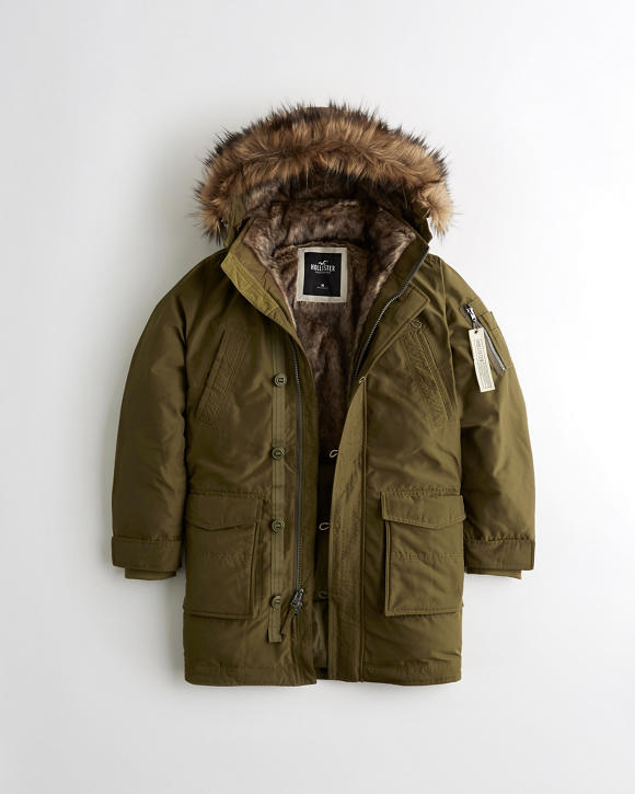 Faux Fur Lined Military Parka by Hollister