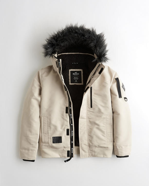 Sherpa Lined Bomber Jacket by Hollister