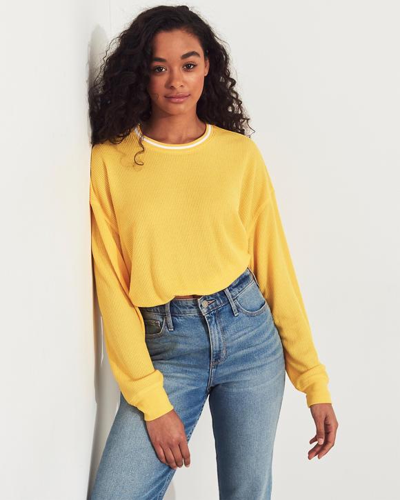 Boyfriend Waffle T Shirt Yellow