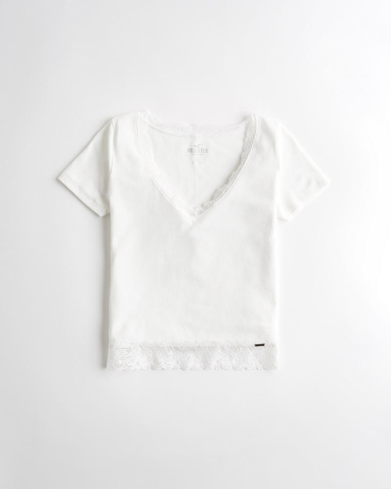 59bd5d79044 Lace-Trim Crop V-Neck T-Shirt | Hollisterco.hk