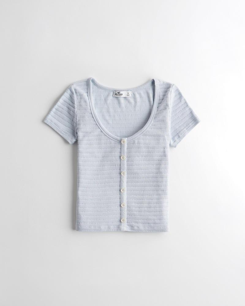 b4ae08bc29cfc Girls Textured Button-Front T-Shirt   Girls Tops   HollisterCo.com