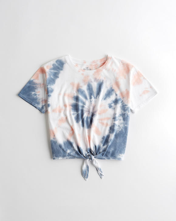 Crop Tie Front T Shirt by Hollister