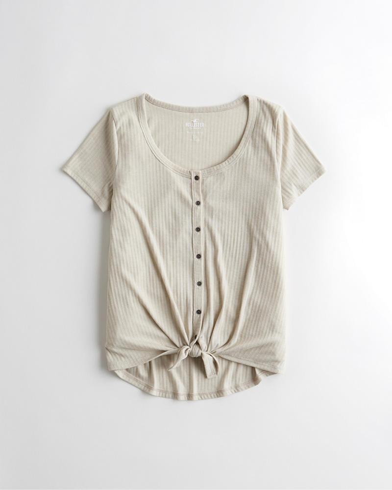 acf8a70e21674 Girls Button-Front Easy T-Shirt   Girls Tops   HollisterCo.com
