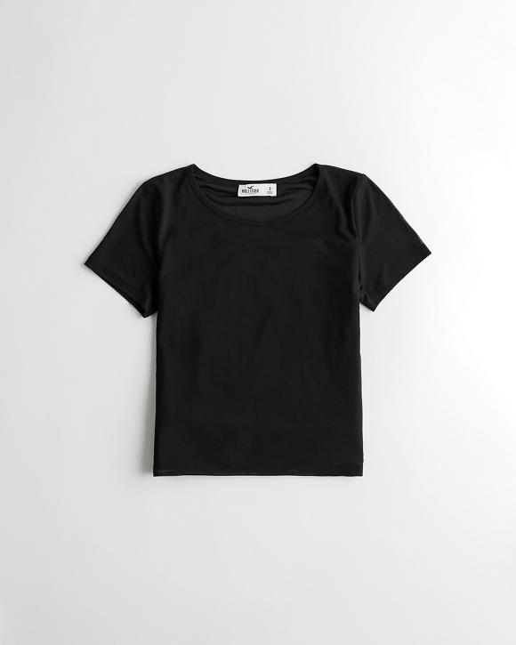 Lined Crop Mesh T Shirt by Hollister