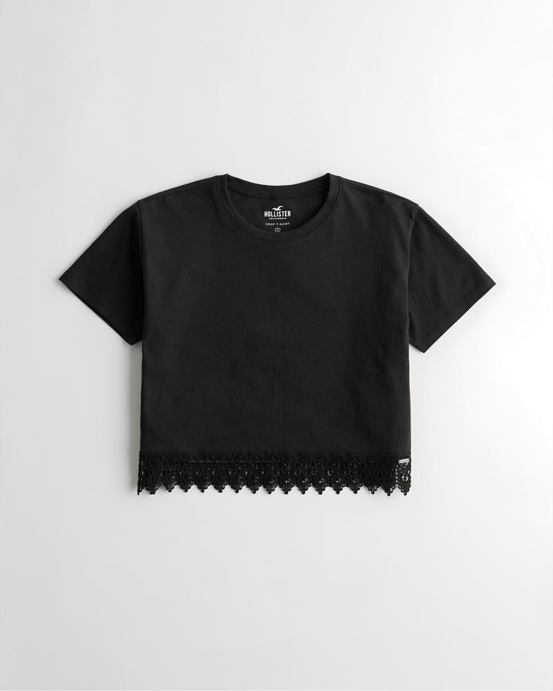 f04c94f1f2a80 Girls Crop Lace-Hem T-Shirt   Girls Tops   HollisterCo.com