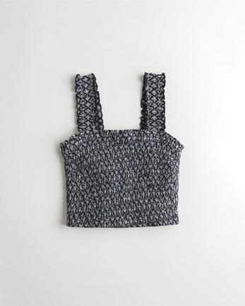 홀리스터 Hollister Smocked Crop Tank,NAVY PATTERN