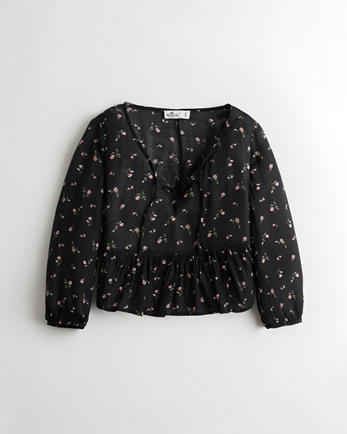 홀리스터 Hollister Eyelet Peplum Peasant Top,BLACK FLORAL