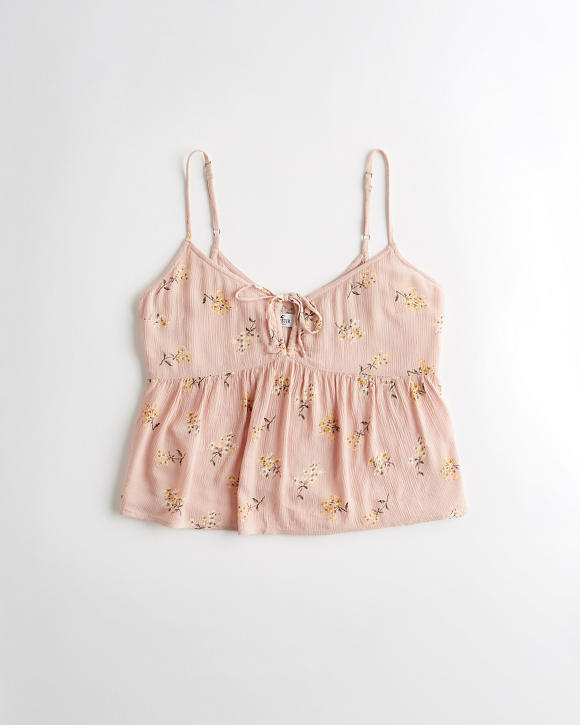 Tie Front Babydoll Tank by Hollister