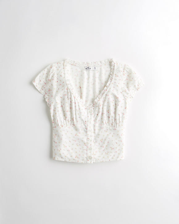 Ruffle Button Front Top by Hollister
