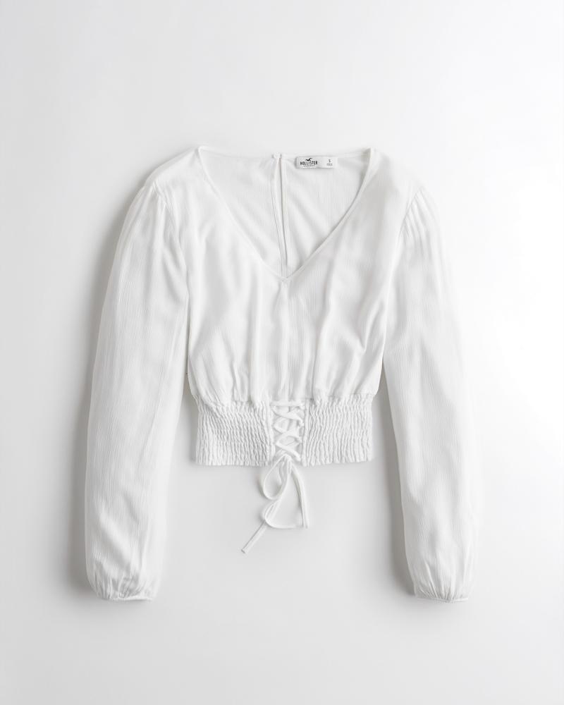 96df9cd4e4b Girls Smocked-Waist Crop Top | Girls Sale | HollisterCo.com