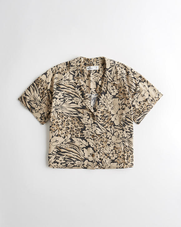 Leopard Camp Shirt by Hollister