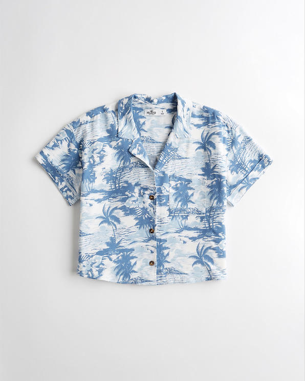 1721491192 Girls Palm Print Camp Shirt | Girls Sale | HollisterCo.com