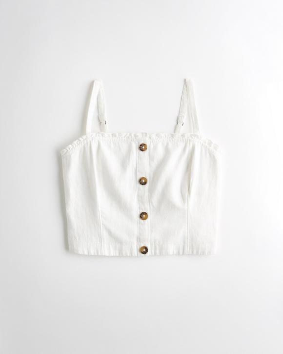 button-front-linen-blend-crop-top by hollister