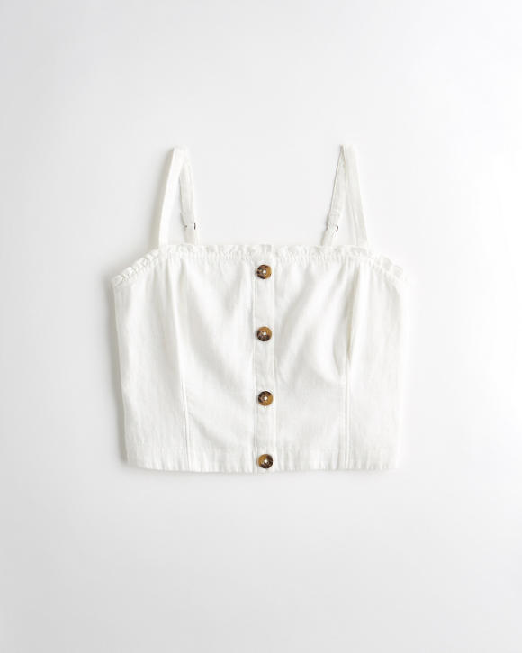 Button Front Linen Blend Crop Top by Hollister
