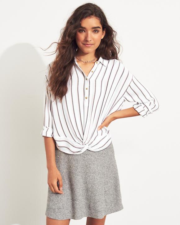Mädels Hemd zum Überstreifen mit verdrehtem Saum | Mädels