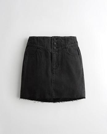 홀리스터 Hollister High-Rise Denim Mini Skirt,WASHED BLACK