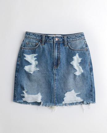 홀리스터 Hollister Ultra High-Rise Denim Skirt