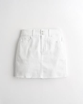 홀리스터 Hollister Stretch Ultra High-Rise Denim Mini Skirt,WHITE