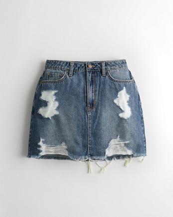 홀리스터 Hollister Curvy Ultra High-Rise Denim Skirt,MEDIUM DESTROY HIGH RISE