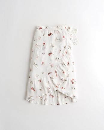홀리스터 Hollister Ruffle Wrap-Front Midi Skirt