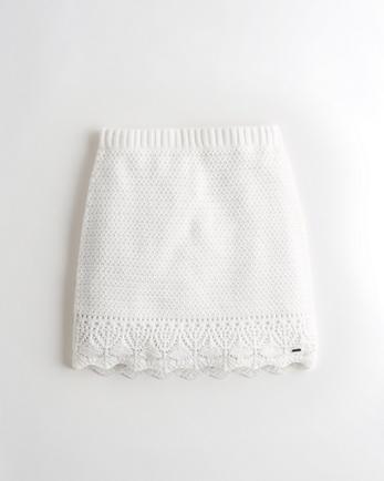 홀리스터 Hollister High-Rise Crochet Mini Skirt,WHITE