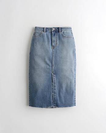 홀리스터 Hollister Vintage Stretch Ultra High-Rise Denim Midi Skirt,MEDIUM