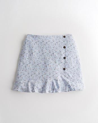 홀리스터 Hollister Ultra High-Rise Ruffle-Hem Mini Skirt