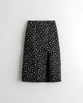 홀리스터 Hollister Ultra High-Rise Woven Midi Skirt,BLACK FLORAL