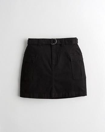 홀리스터 Hollister Stretch High-Rise Utility Mini Skirt,BLACK