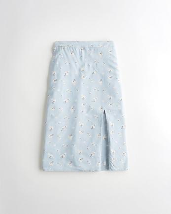 홀리스터 Hollister High-Rise Midi Skirt,LIGHT BLUE FLORAL