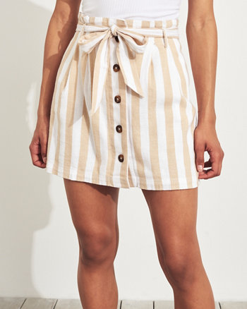 6a849708e Ultra High-Rise Paper-Bag Linen-Blend Skirt