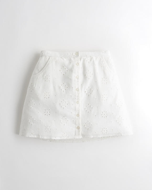 Ultra High Rise Eyelet Skirt by Hollister